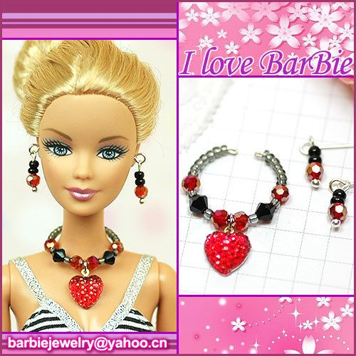 barbie doll jewelry set barbie red heart necklace and by sinogem