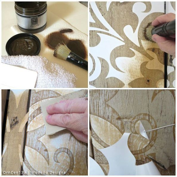 трафарет, как деревенский кабинет макияж с MODELLO трафареты, Сделай сам, Как, кухонные шкафы, дизайн кухни, деревообрабатывающих проектов