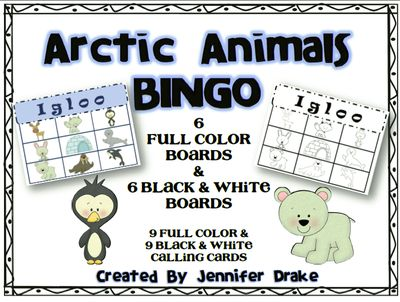 Arctic Animals BINGO ~6 Playing Cards~ Color & B&W Versions! from Jennifer Drake on TeachersNotebook.com -  (20 pages)  - Teaching an Arctic Animal unit and want a fun way to end it? Want a way to introduce the unit and animal names? Look 'SNOW' further!  Arctic Animal BINGO is here!