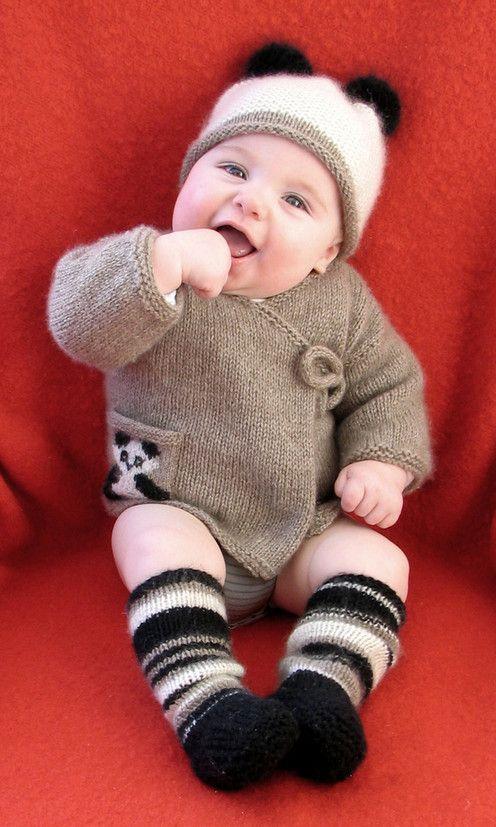 Knit baby jacket, hat and legging set