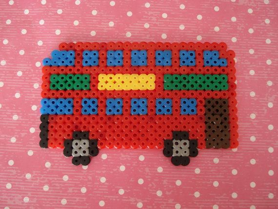 Iconic London red double decker bus Hama perler by cupcakecutie1, $8.95