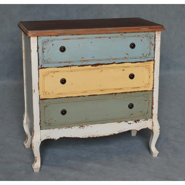 Distressed multicoloured drawers