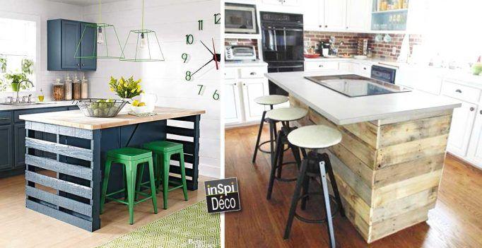 Fabriquer un ilot de cuisine en palettes! Voici 15 idées pour vous inspirer…