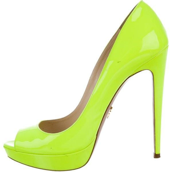 Pre-owned Prada Neon Peep-Toe Platform Pumps ($225) ❤ liked on Polyvore featuring shoes, pumps, yellow, yellow pumps, yellow peep toe pumps, yellow patent leather pumps, yellow shoes and platform pumps