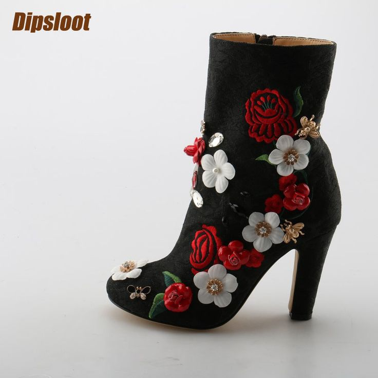 Autumn Super Hot Embroidery Flowers Women Pointy Toe Ankle Boots Multicolor Appliques Ladies Chunky Heel Boots Size 41