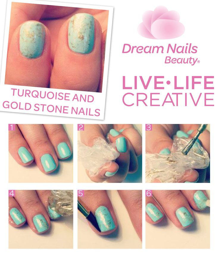 Fresh turquoise nails with gold stones. This colour makes this design really powerful. Live creative. #DIY #Diva