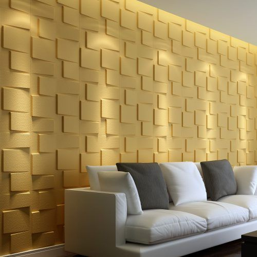 3D Wallpaper for Home Decoration with Block Brick in Yellow #ModernLivingRoom #MinimalistLivingRoom #ModernInterior #MinimalistInterior