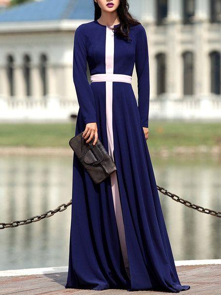Blue Elegant Swing Color-block Maxi Dress