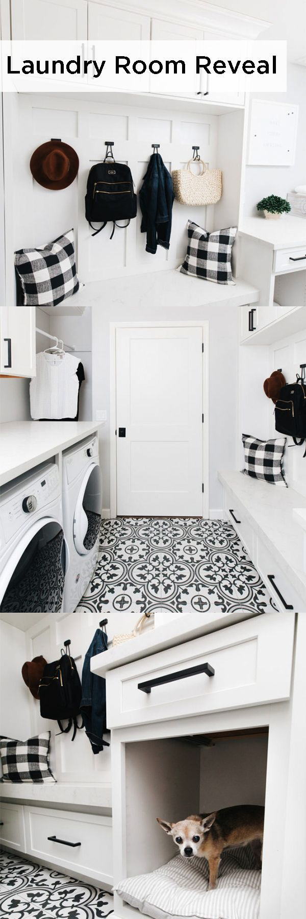 You'll want to run your wash an extra cycle just to spend more time in this laundry room remodel from the TomKat Studio. Montgomery style Diamond cabinets in a White finish bring a fresh look for all members of the family to enjoy.