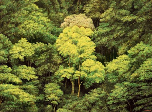 Love this painting, I could just loose myself in those woods... paintings by Taiwanese artist Tzu-chi YEH
