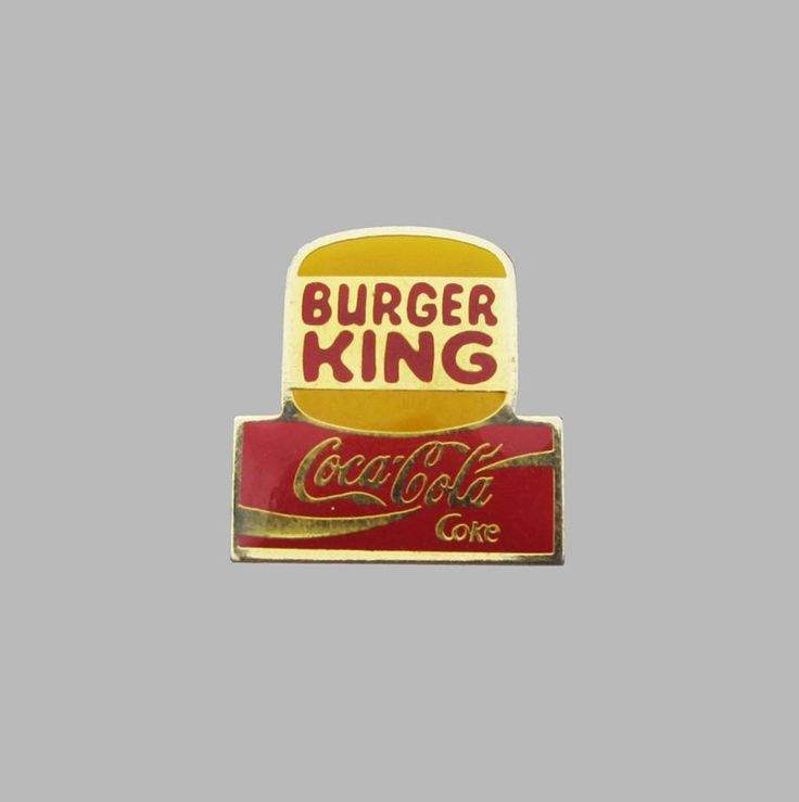 90'S BURGER KING COKE LOGO PIN by Nouveaux Mondes Rare 1990's Burger King Coca-Cola coke promo logo vintage enamel pin.Perfect conditions.Width: -, Length: -.Sourced in France