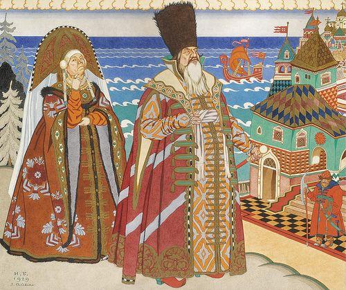 """Ivan Yakovlevich Bilibin, """"Tsar Saltan and Babarikha"""""""