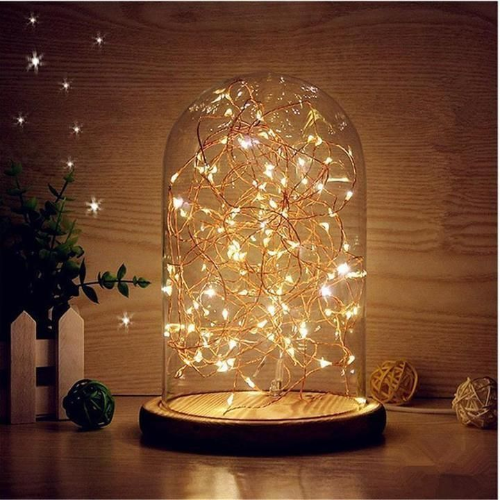 Bedside Table Lamp In 2020 Fairy Lights Bedroom Decorating With Christmas Lights Diy Christmas Light Decorations