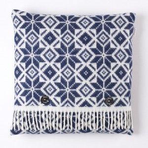 Motif Cushion Snow Navy White #wool #luxury #home
