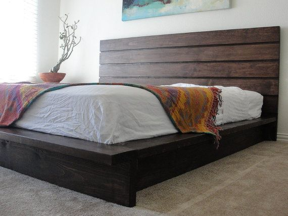 features beautiful handmade solid wood no knots on headboard wood slats and center supports box spring is not necessary - Solid Wood Platform Bed