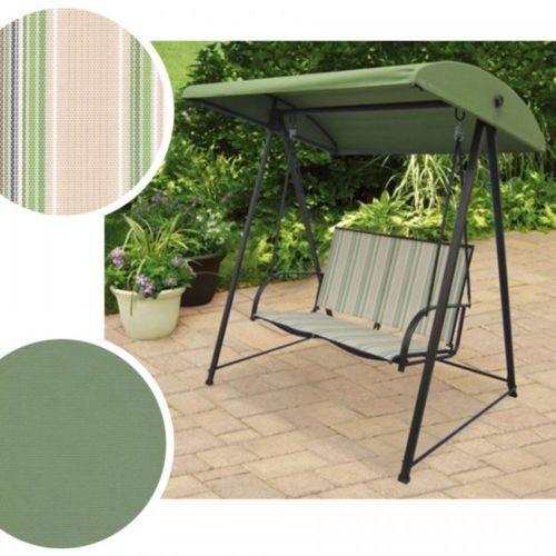 Patio Swing Canopy Garden Outdoor Metal Furniture Seats 2 Green Stripe Sling