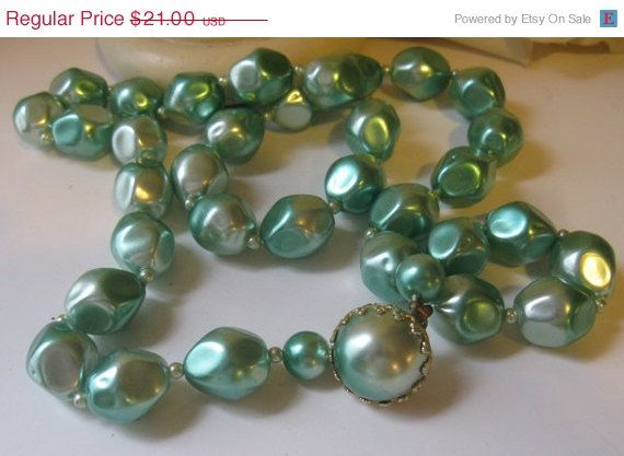 ON SALE Retro Aqua Baroque Pearlescent Beads  by Sisters2Vintage, $17.85