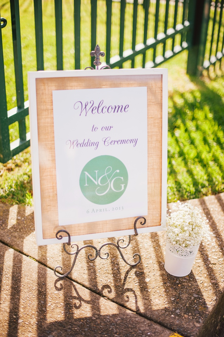 Our Welcome Ceremony Sign    hessian | baby's breath