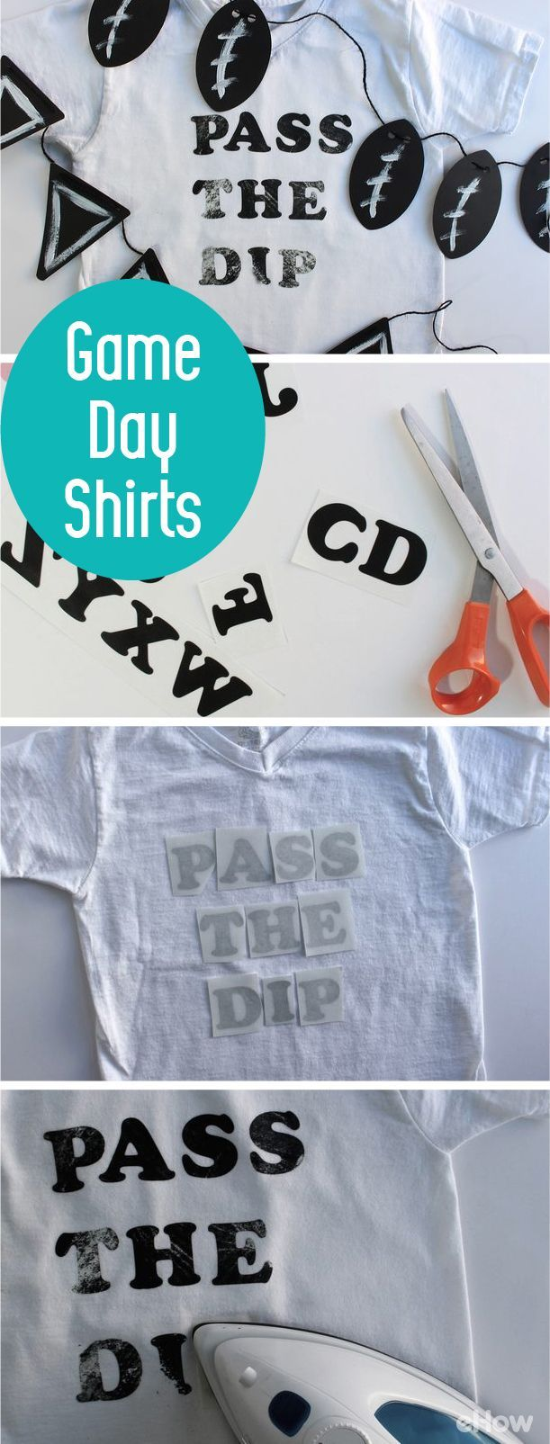 Not super into sports? You can still get in on the fun! Make these party-ready shirts that you can wear at  any and every sports game and tailgate.  http://www.ehow.com/how_12343102_diy-team-shirts-game-day.html?utm_source=pinterest.com&utm_medium=referral&utm_content=freestyle&utm_campaign=fanpage