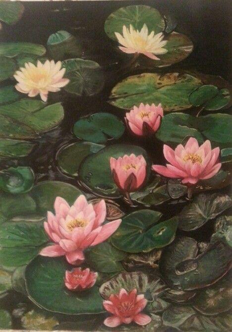 Lotus 2 Acrylic painting  Artist Özlem Erkorol in Istanbul