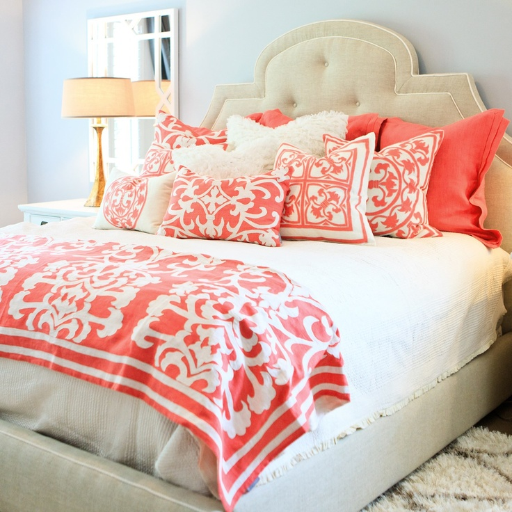 Coral and white