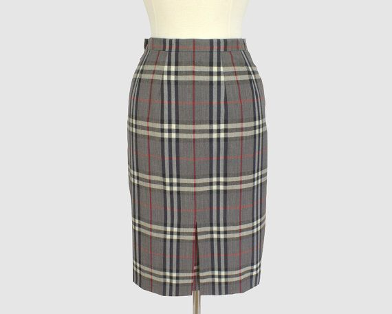 Burberrys Vintage 1990s Pencil Skirt Gray Nova Check Wool