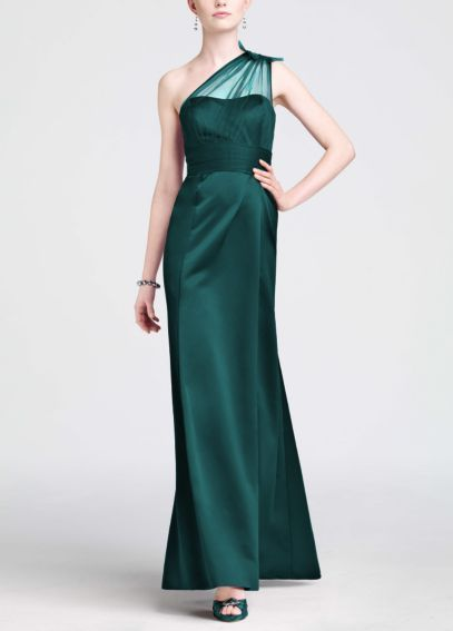 One Shoulder Satin Dress with Beaded Detail F15133 --- LouAnn's black tie dress for the Big Oil Gala infiltration
