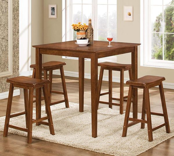 Walnut Counter Height Dinette Coaster Furniture In Casual Dining Sets Enrich Your Modern Room With This Five Piece Table And Stool Set