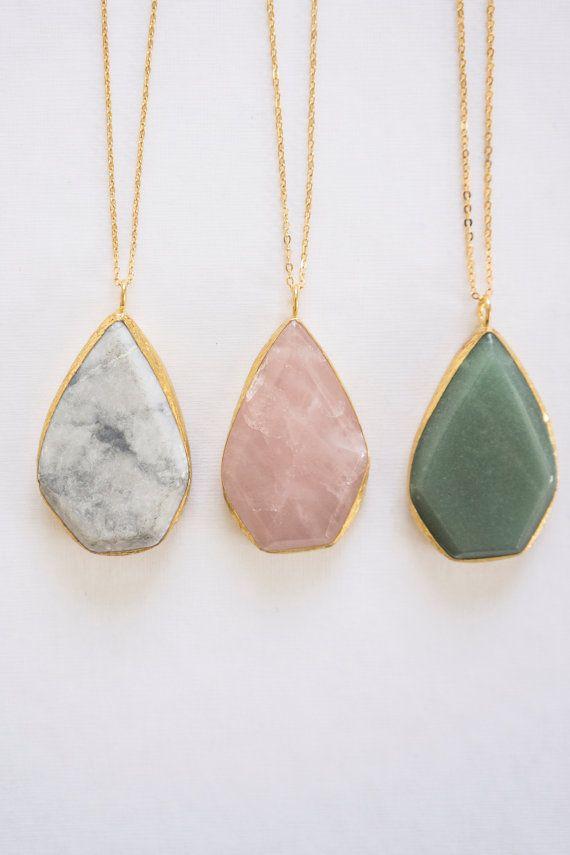 Gemstone Pendant Necklace, Drop Neclace, Birthstone Necklace, Pink Quartz Necklace, Aventurine Necklace, Boho Necklace, Tribal Necklace