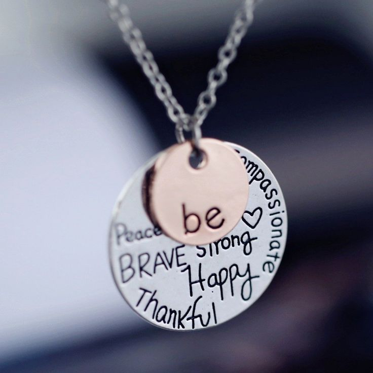 Rose gold plated Pendant Necklace hand stamped Be Happy Necklace Cute coin Engraved necklace for women girl jewelry