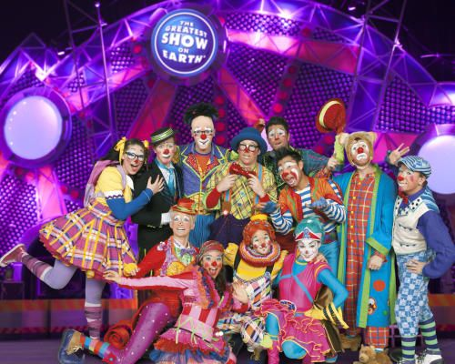April Vollm, front row on left, performs with Ringling Bros.  Clown Alley. Before joining the circus, Vollm served in the U.S. Air Force.