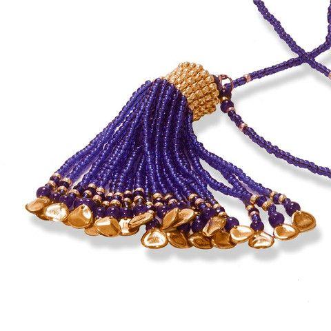 Handmade Blue Gold Shimmering Beaded Tassel Necklace