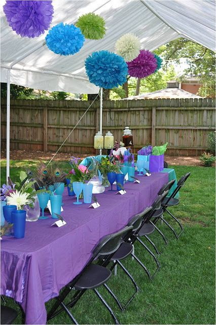 peacock...would be cute for a bridal luncheon or shower. Like the Pom poms