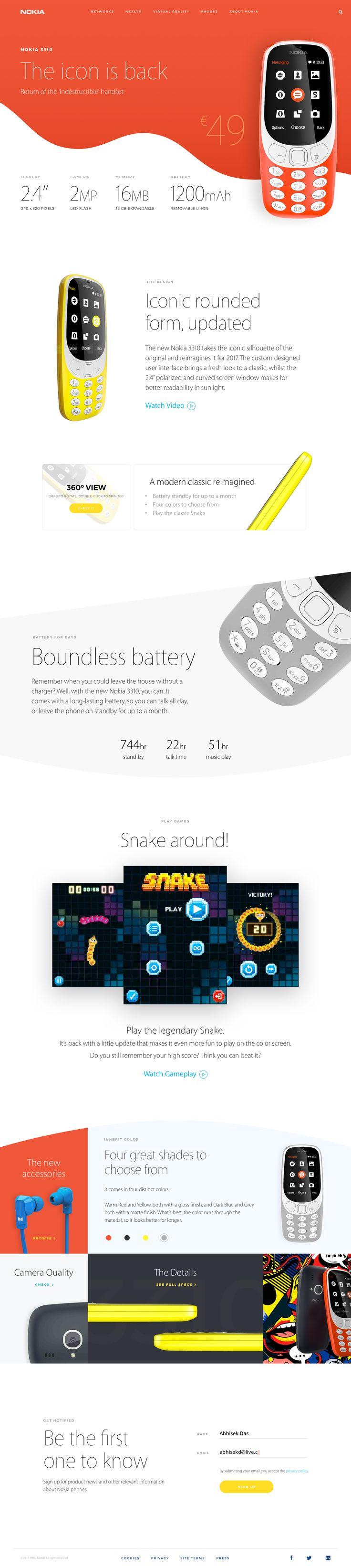 Nokia 3310 landing page