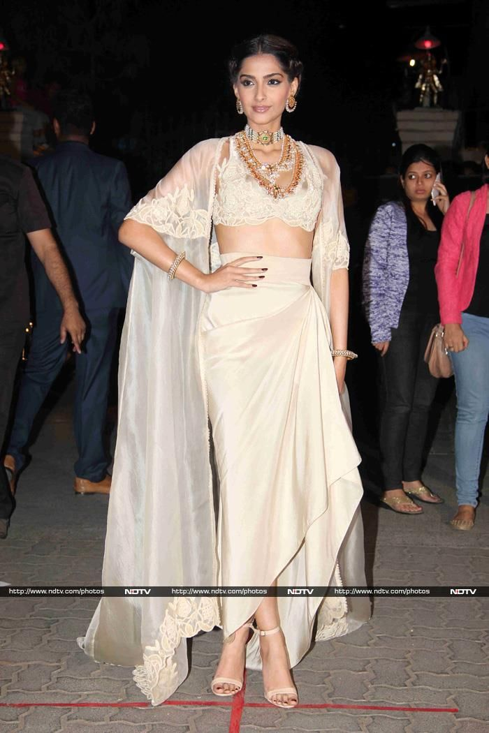 Sonam Kapoor raised the glam quotient in a white Anamika Khanna ensemble.