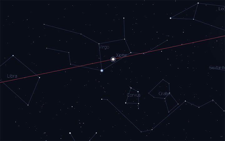 Así se verá el planeta Jupiter en su oposición el 7 de abril del 2017 a medianoche