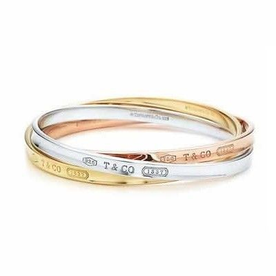 Tiffany And Co Bangle 1837 Silver And Gold 042