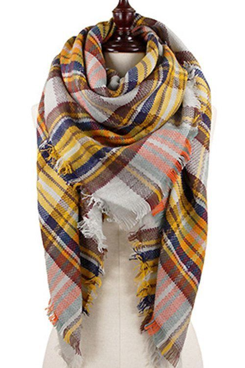 Poppy Plaid Blanket Scarf (3 Colors Available) | Off Newbury ...