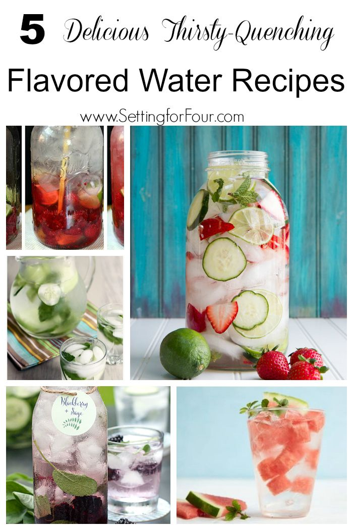 Flavored Water is not only easy and quick to make but is so healthy too!  Here are 5 Delicious Thirsty-Quenching Flavored Water Ideas. Low sugar, high flavor drink recipes made with fruit and herbs.