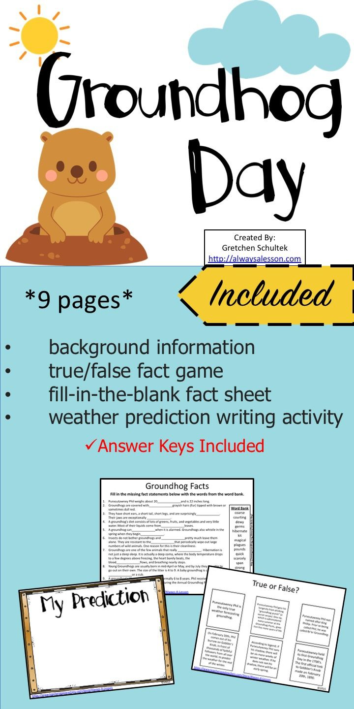 Groundhog Day Activities | * Best Elementary Language Arts Ideas and ...