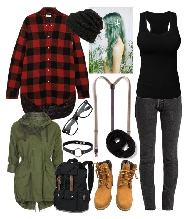 """Grunge School Outfit"" by drunkenwolfchild ❤ liked on Polyvore featuring Vetements, Topshop, NUR, Timberland, Retrò, ZeroUV and Leith"
