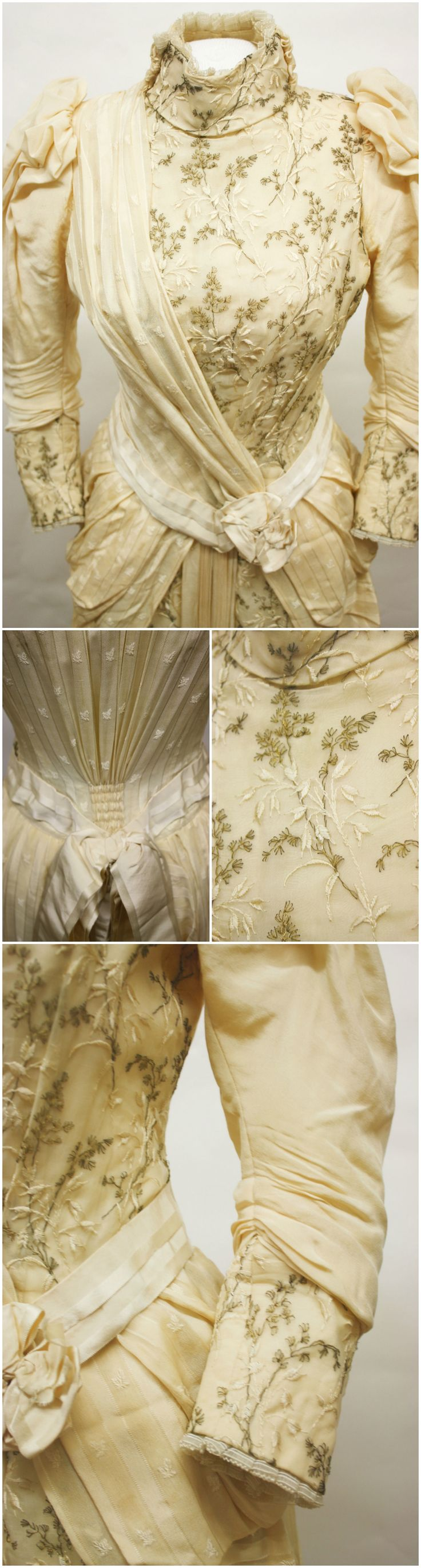 Two piece (bodice and skirt) silk dress ensemble, by Henrietta Frame, circa 1885-1890, at the Fenimore Art Museum, Cooperstown, New York. Owned by Maria Williams Proctor, who wore it to a wedding on June 11, 1890. Photos: The Clothing Project on Tumblr.
