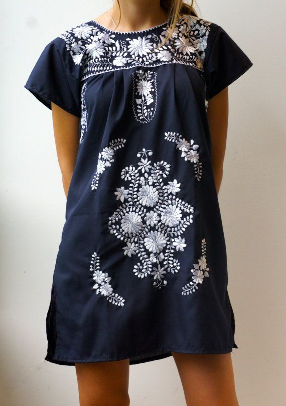 Navy blue mexican embroidered dress [ MexicanConnexionForTile.com ] #fashion