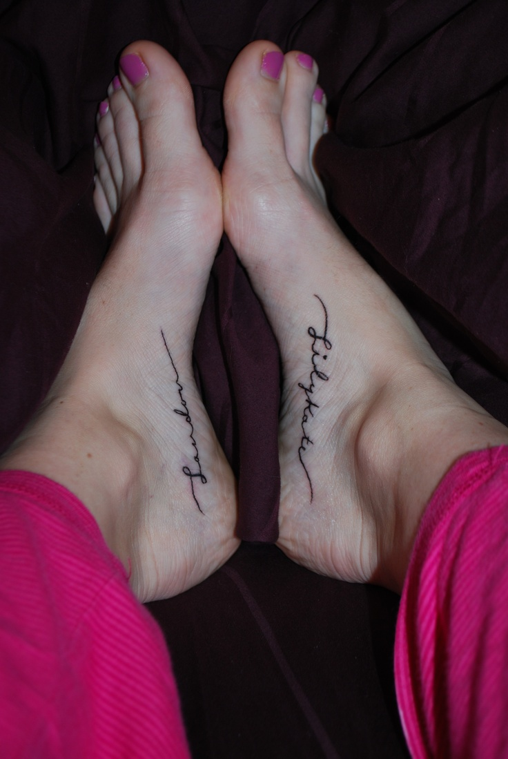 Foot Tattoos : Children's names....I want this...and will get them one day