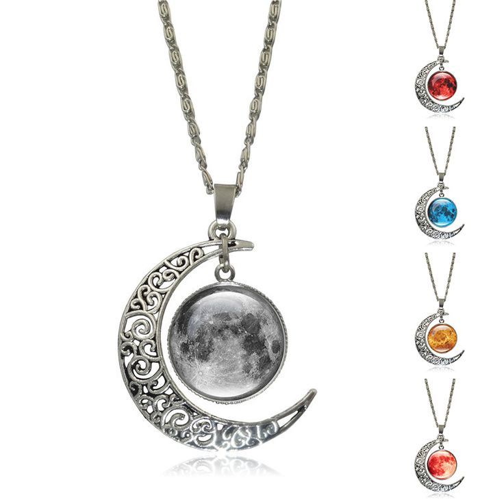 Galaxy Planet Necklaces & Pendants Glass Cabochon Picture Silver Half Moon Pendant Statement Chain Necklace for Women Jewelry