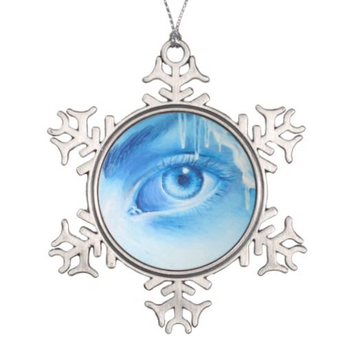 Blue eye snowflake pewter christmas ornament