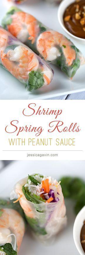 Fresh shrimp spring rolls with hoisin peanut dipping sauce | http://jessicagavin.com