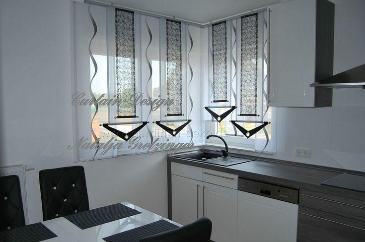 Grauer Schiebevorhang mit Dekonetzen für die Küche - http://www.gardinen-deko.de/grauer-schiebevorhang-mit-dekonetzen-fuer-die-kueche/