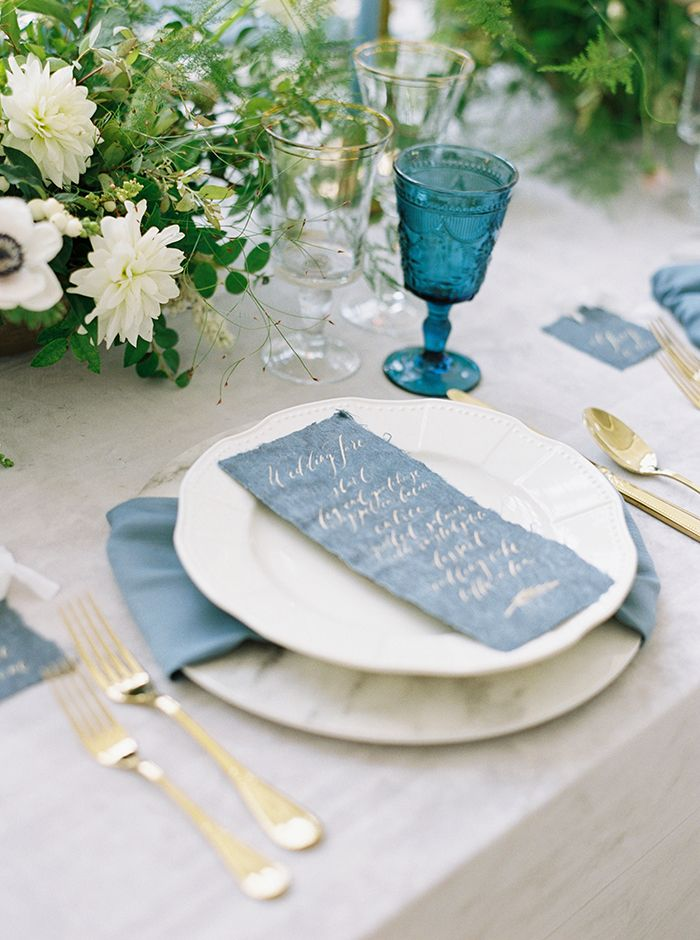 Hand Lettered Wedding Menu in Gold Inkr  https://heyweddinglady.com/moody-blues-grays-southern-barn-wedding/    #wedding #weddings   #weddinginspiration #bluewedding #barnwedding #weddingflowers #tablescape #weddingdecor #centerpiece #vintagewedding