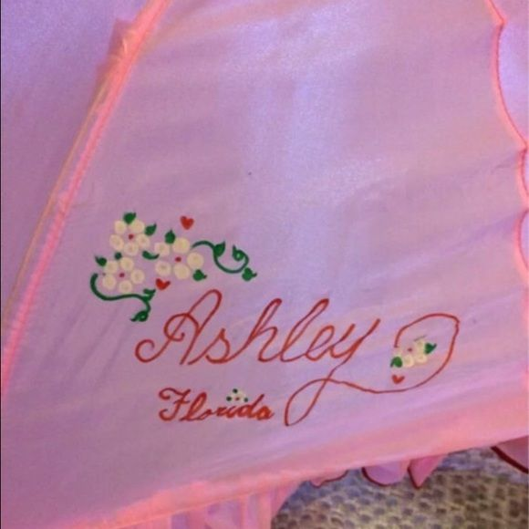 Custom ASHLEY pink umbrella with cat for child This is a custom made little girls pink Umbrella about 2 feet long. It was made in Florida and says Ashley- Florida on the umbrella with cats. Very adorable for a little girl named Ashley in Florida !! Accessories Umbrellas
